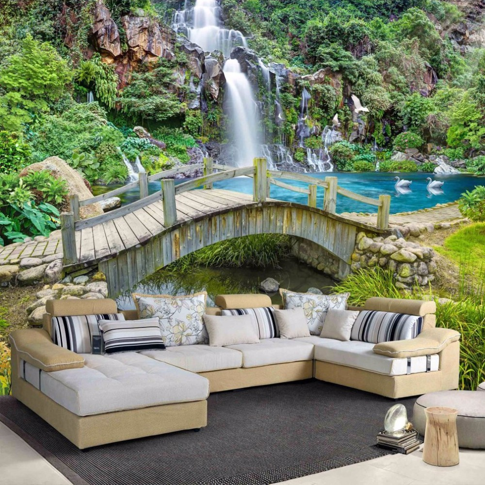 beibehang Custom Any Size 3D Mural Wallpaper Small Bridge Running Water Waterfall Nature Landscape Photo Background Wall Papers in Wallpapers from Home Improvement