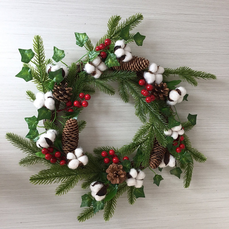 20 Inch Natural Cotton Boll Wreath Mix Pine Needles Red Berries Pinecone Christmas Decorations for Home