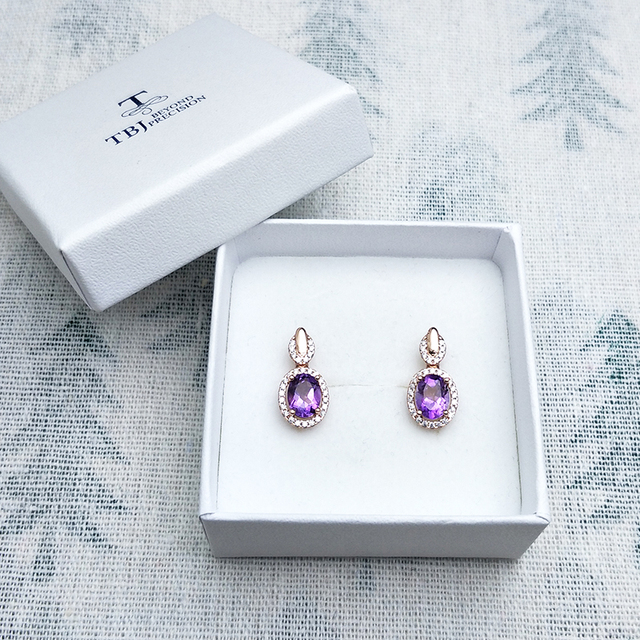 Amethyst Gold Plated 925 Sterling Silver Earrings 4