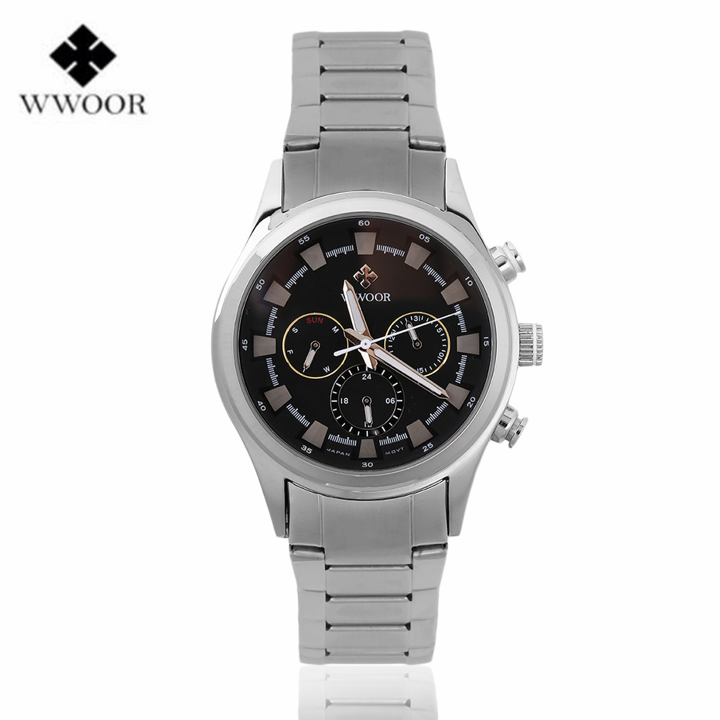 WWOOR Men's Quartz 24 Hours Date Clock Male Waterproof Stainless Steel Strap Wrist Watch Top Brand Luxury Men Sports Watches