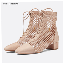 High Quality Women 2019 Summer Lace-Up Leather Ankle Boots Zapatos Femme Square High Heel Women Shoes Hollow out female boots