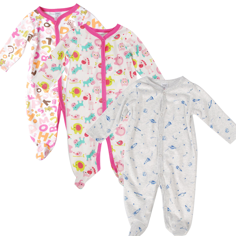 3Pcs/Lot Newborn Baby Rompers Long Sleeve Baby Cotton Clothes for Girls Boys Cartoon Printed Infant Clothing Jumpsuits Overalls baby rompers newborn clothes baby clothing set boys girls brand new 100%cotton jumpsuits short sleeve overalls coveralls bebe