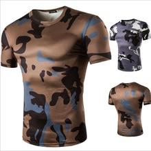 2016 Camo Tee Hip Hop Fashion Mens T Shirt Military Camouflage Men Short Sleeve O Neck