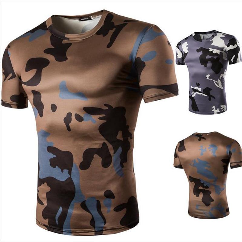 2016 Camo Tee Hip Hop Fashion font b Mens b font T font b Shirt b