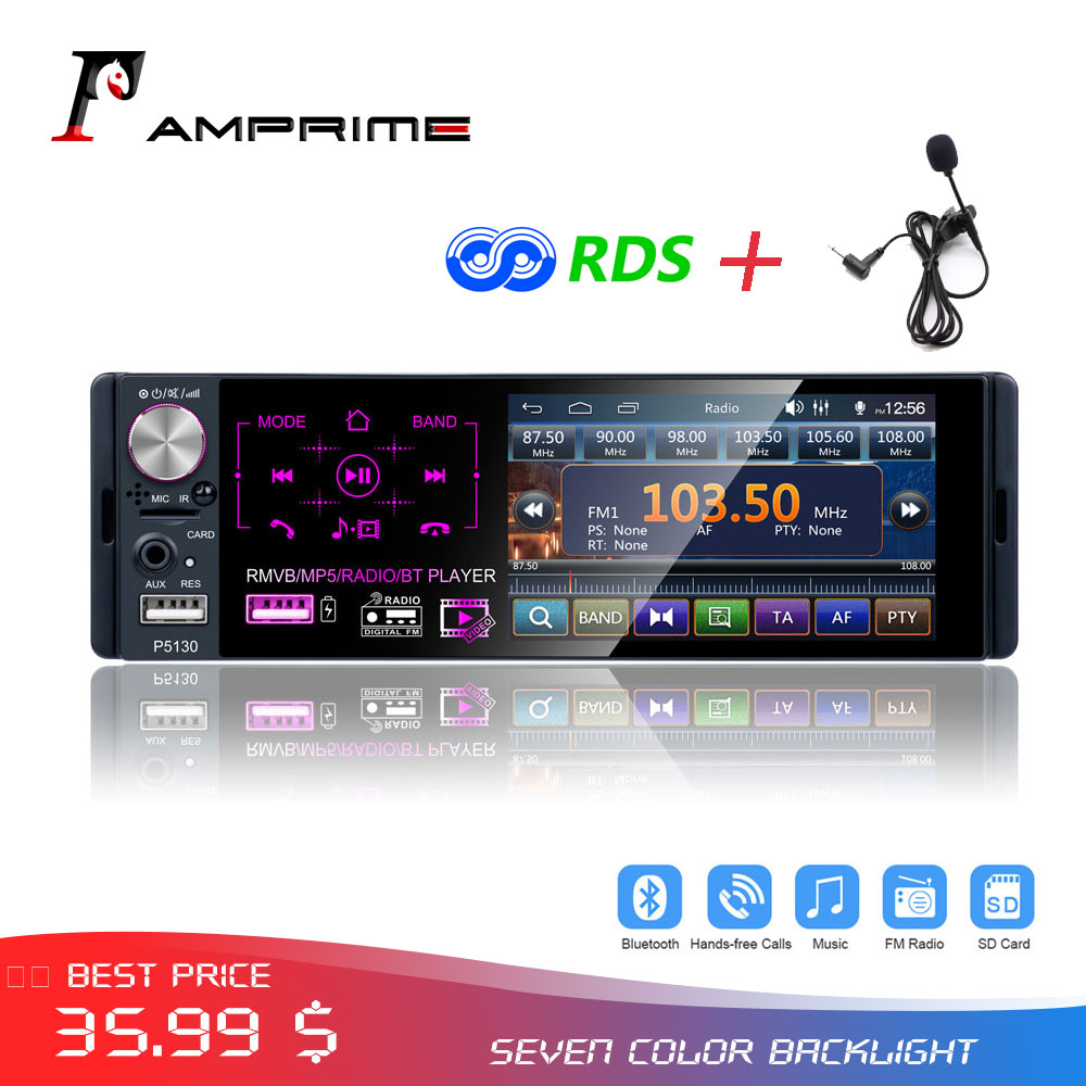 AMPrime 4.1 Autoradio 1 din Car Radio Touch Screen Multimedia player MP5 Bluetooth RDS Dual USB Audio Stereo Support Micphone image