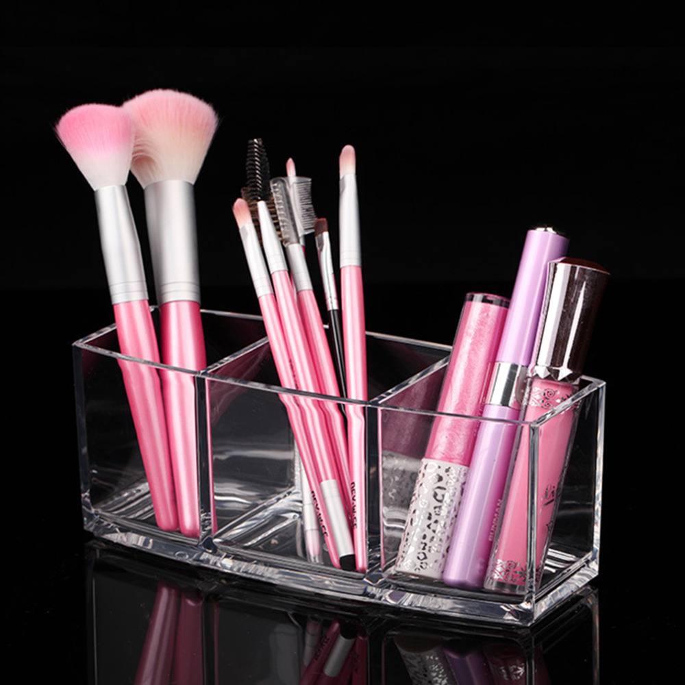 Simple Design Transparent Pen Holder Style Makeup Tools Organizer Home Bedroom Makeup Brushes Storage Holder