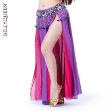 Belly dance skirt dresses indian clothes set two-color placketing double chiffon