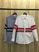 2017 Top Fashion Special Offer Cotton Full Women Shirts Blusas Women Tops Fashion Rib Stripe Mosaic Lapel Sleeved Shirt Blouse