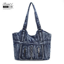 Women Canvas Tote Bag 2019 denim Shopping bag Female Eco Cloth Handbag Big Women Folding Shoulder Reusable Foldable Shopper Bags(China)