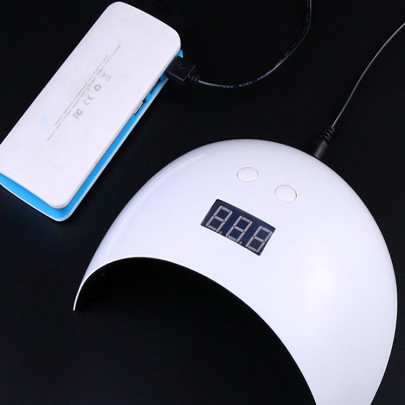 Сушилка для ногтей 24 Вт УФ светодиодный лампы для ногтей Smart Сенсор 60/90/120 s установка времени машины леча uv гель разъем USB Перезаряжаемые 12 Св...