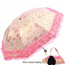 Or velours satin parapluie protection solaire parapluie dentelle parapluie pliant parasol(China)