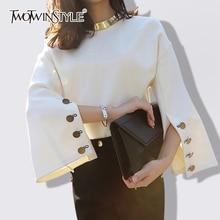 Deuxtwinstyle Flare manches t shirt femme fendu O cou avec collier blanc pull t shirts 2020 printemps mode OL vêtements