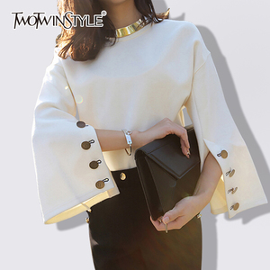 Image 1 - TWOTWINSTYLE Flare Sleeve T Shirt Female Split O Neck With Necklace White Pullover T Shirts 2020 Spring Fashion OL Clothing