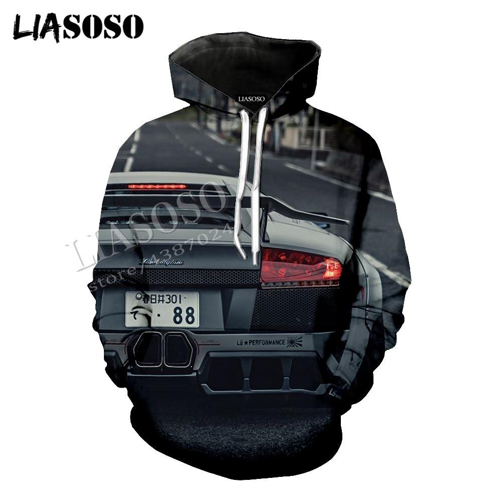 LIASOSO latest 3D print cozy polyester sportswear super sports car speed sexy taillights zipper hooded shirts men women CX632