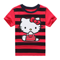 Cartoon Cat Stripe Girls Kid 2017 Summer Girls T-Shirt Tops Teen Children Clothing  Baby Girl T-Shirt Short Sleeve Clothes ss085