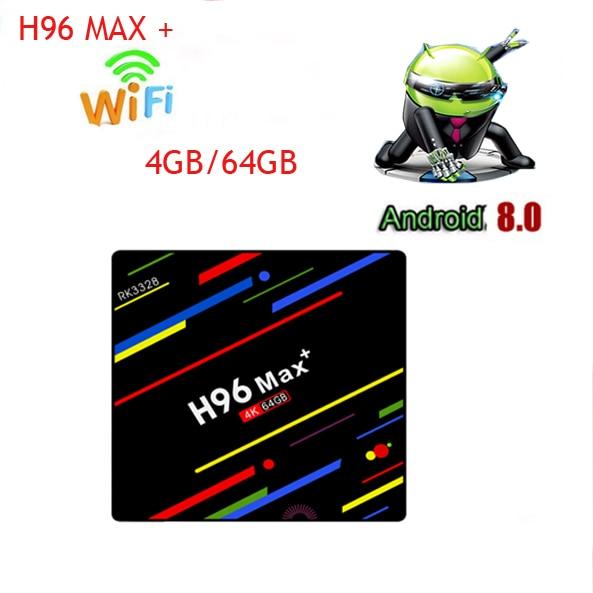 H96 Max Plus 4GB RAM 64GB ROM Smart TV Box Android 8.1 RK3328 Quad Core Mini PC 2.4G/5G Dual Wifi 4K Media Player