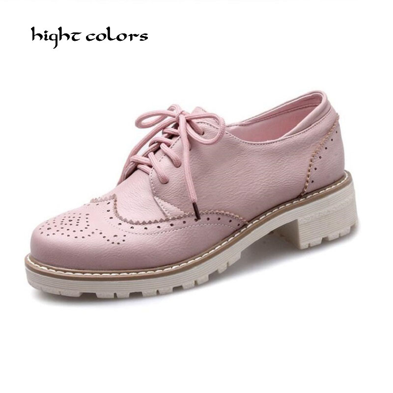 Size 33~43 New Women Oxfords Lace Up pink beige white black Metallic Striped platform Vintage oxford flat women's shoes ZJ-333 sat1065 b high pressure foam spray airbrush powder coating spray gun hvlp pneumatic paint gun metal machine pneumatic tools