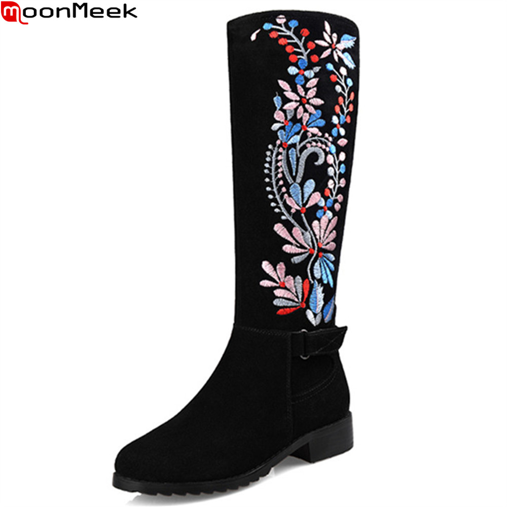 MoonMeek 2018 autumn winter new arrive women boots round toe ladies genuine leather boots black zipper cow suede knee high boots цена 2017