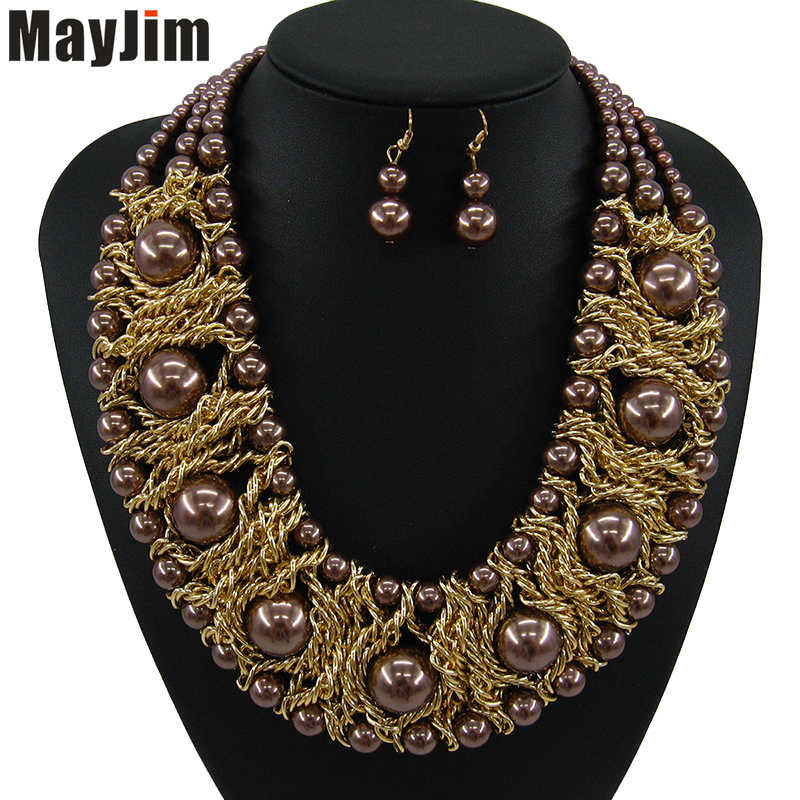 Statement 2018 New Fashion indian bridal big Simulated pearl Jewelry Sets bead Gold Chain Necklace Earring Women Wedding Jewelry