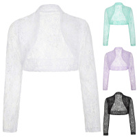White Lace Bridal Boleros Poque Womens Ladies Long Sleeve Wedding Jackets Plus Size Wraps Shrug For