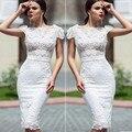 Alta moda Vestidos de Cóctel largo Blanco Elegante Sirena de Encaje de Flores Vestidos de Fiesta Vestido Corto 2016 vestidos de noche vestido de cóctel