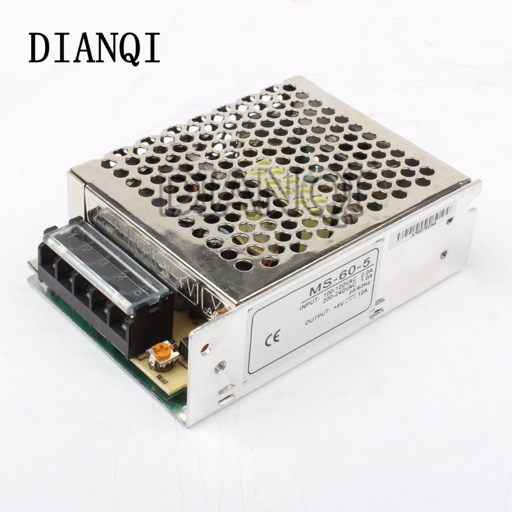 power supply 60W 5V 12A mini size ac dc converter power supply unit ms-60-5 5v variable dc voltage regulator image