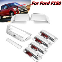 8pcs Car Chrome Sticker Cover Trim For Door Handle Rearview Mirror Tailgate Reverse Camera For Ford F150 2015 2016