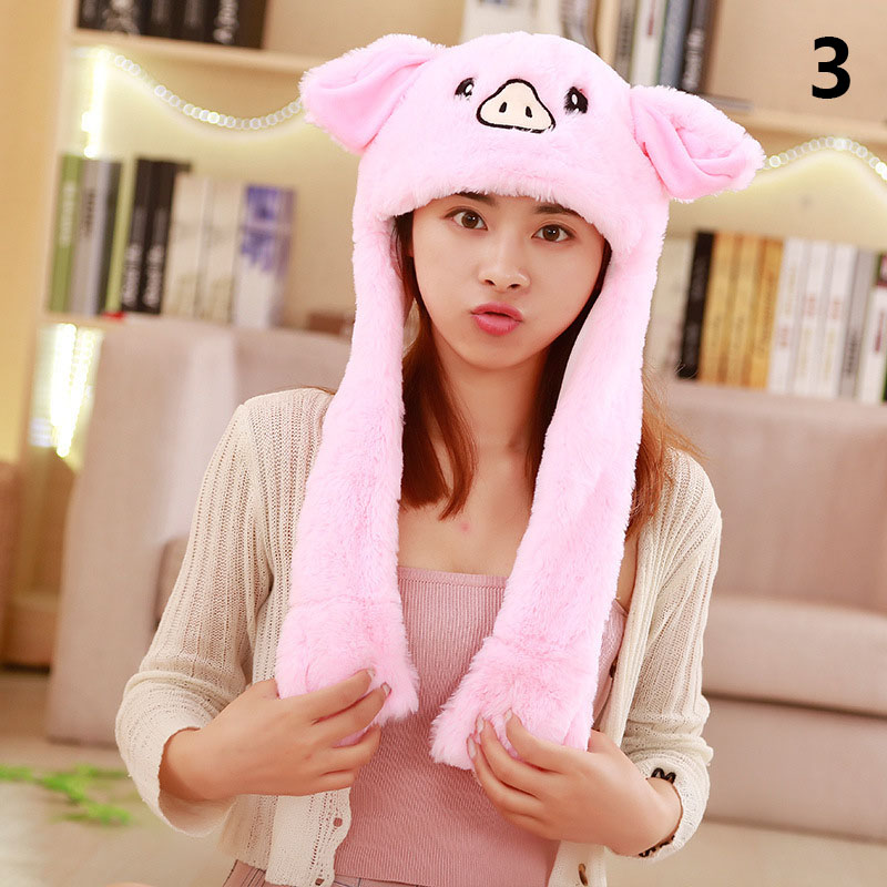 1 Pcs Rabbit Animal Ear Hat Cap Cute Plush Controllable Airbag Gift For Children Kids Girl -MX8