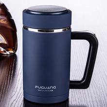 480 ml Drink Isolierflasche Glänzend Matt Thermosbecher 304 Edelstahl Wärmeisolierende Tee Wasser Becher mit Handgriff-filter