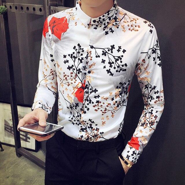 f309d28beb8 British Style Men Shirt 2018 Autumn Winter New Men Casual Floral Shirt Slim  Fit Fashion Rose Print Long Sleeve Dress Shirts Mens