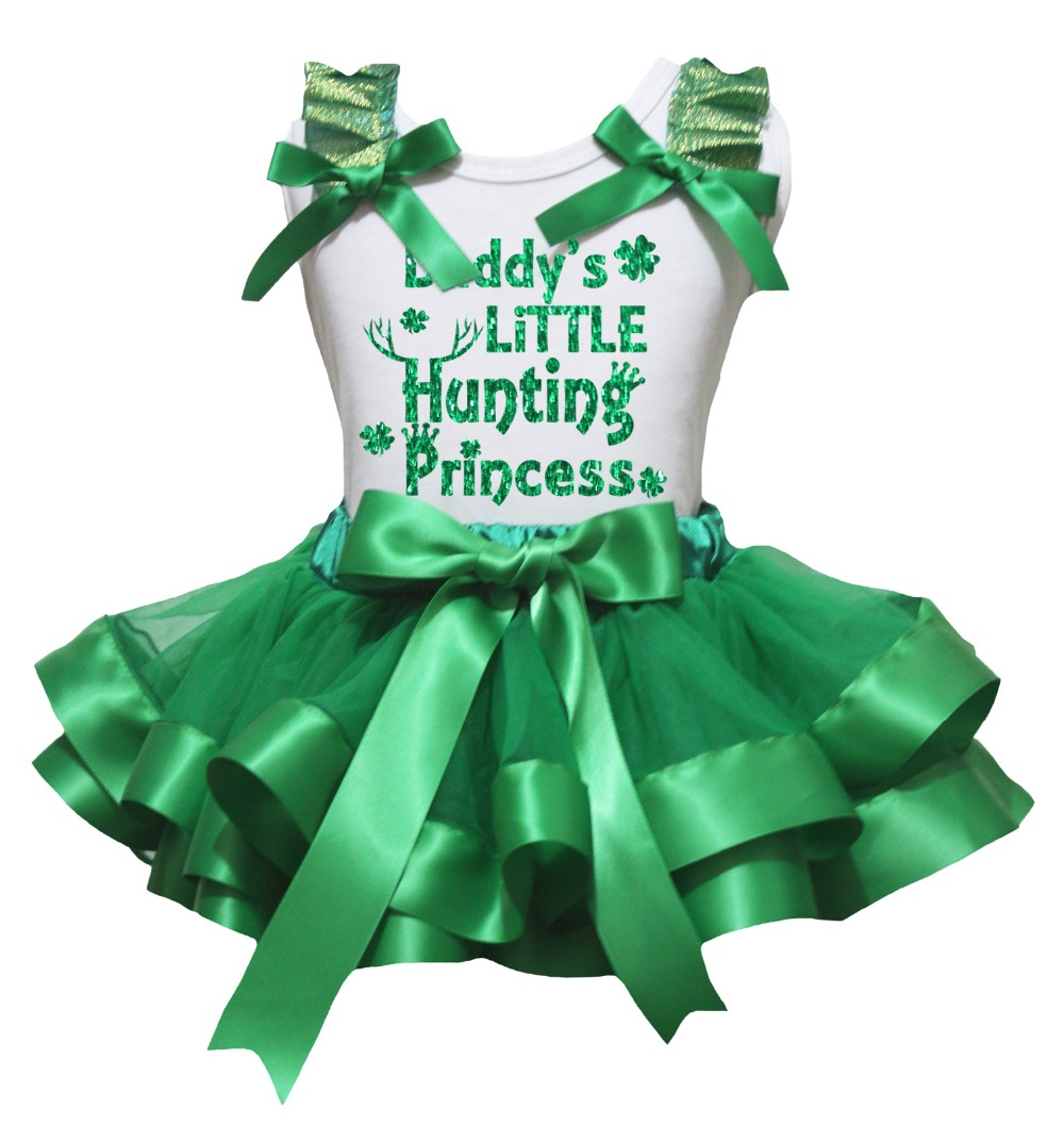 White Cotton Shirt Kelly Green Petal Skirt Girl Outfit Set Dress Happy St Patrick's Day Costume Nb-8y LKPO0068 bling my 1st camo dress tree little princess white shirt camouflage bow petal skirt nb 8y