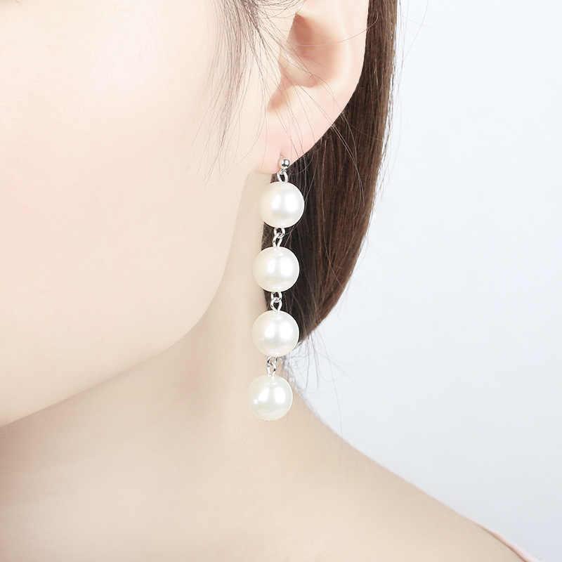 Big Simulated Pearl Long Earrings Gold Silver Color Statement Dangle Drop Earring For Women Ear Jewelry Beaded Tassel Eardrop