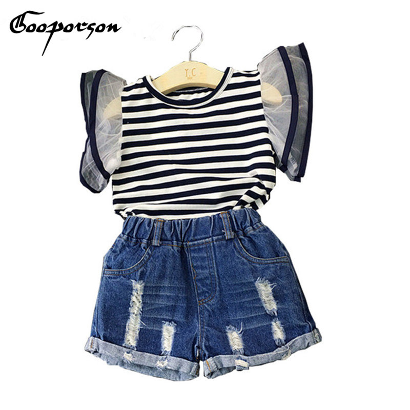 Girls Summer Clothes Striped Shirt With Jeans Short 2pcs Baby Kids Clothing Set For Children Clothes Casual Style Girl Clothing family fashion summer tops 2015 clothers short sleeve t shirt stripe navy style shirt clothes for mother dad and children