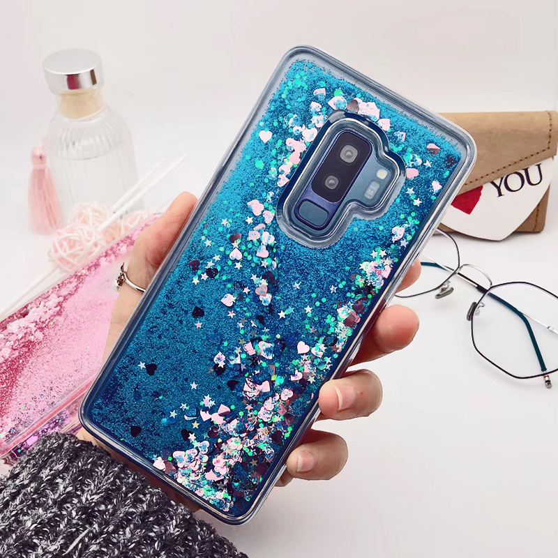 for Samsung Galaxy S9 case Back cover Bling Glitter Dynamic Quicksand Liquid Case for samsung S9 plus cover Galaxy S9 coque in Fitted Cases from Cellphones Telecommunications