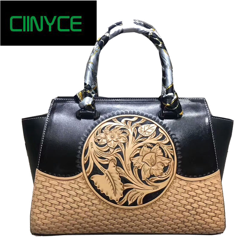 Hand Painted Genuine Leather Latest Women Handbag Stylish Big Tote Embossed Female Messenger Shoulder Sling Bags Ladies Bag