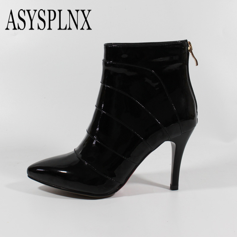 ASYSPLNX brand 2017 leather zipper high heels female boots black single shoes