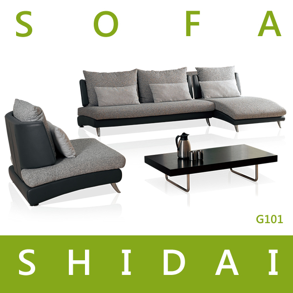 Modern Small Sofa With Fabric Cover / Balcony Sofa Set With Stainless Steel  Leg / Armless
