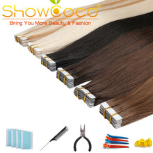 Showcoco Skin Weft Human Tape in Hair 40pcs Adhensive Remy Straight Hair 16-24 Inch(China)