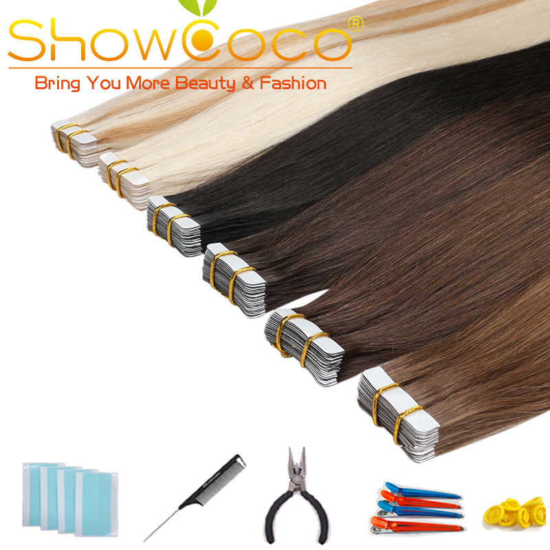 Showcoco Skin Weft Human Tape in Hair 40pcs Adhensive Remy Straight Hair 16-24 Inch