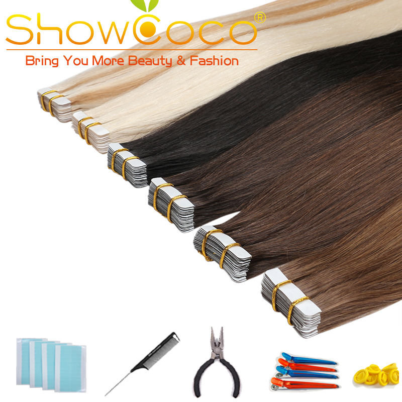 Showcoco Skin Weft Tape In Human Hair 40pcs Adhensive Machine-made Remy Straight Hair 16-24 Inch