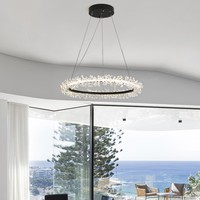 Post modern dining room simple LED chandelier hall home bedroom personalized ring bar creative crystal lamp