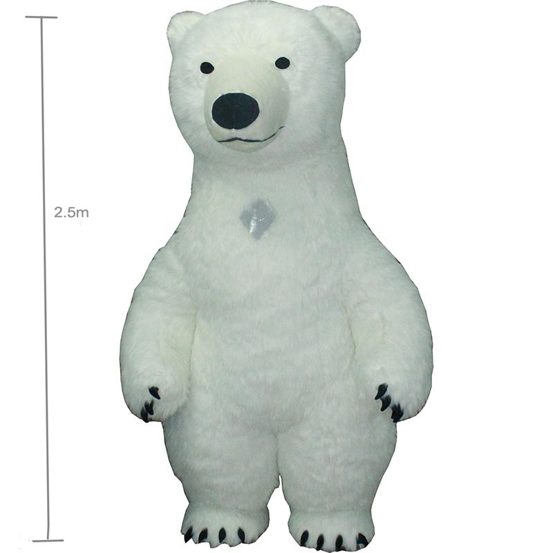 2.5m white bea Mascot Costume For Adult Inflatable Polar Bear Costume Advertising For Fantasias Homem Customize  Tall Short Hair