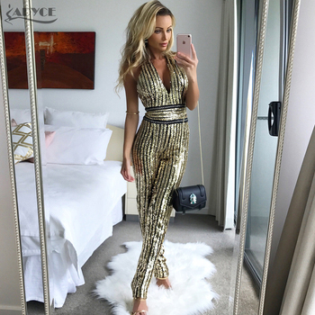 Summer Rompers Bodysuit Women Golden V Neck Sleeveless Sequins Celebrity party Long Jumpsuit Macacao Feminino