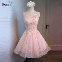 Dressv scoop neck appliques lace beaded homecoming dress pearl pink A-line above knee beading homecoming dress&graduation dress