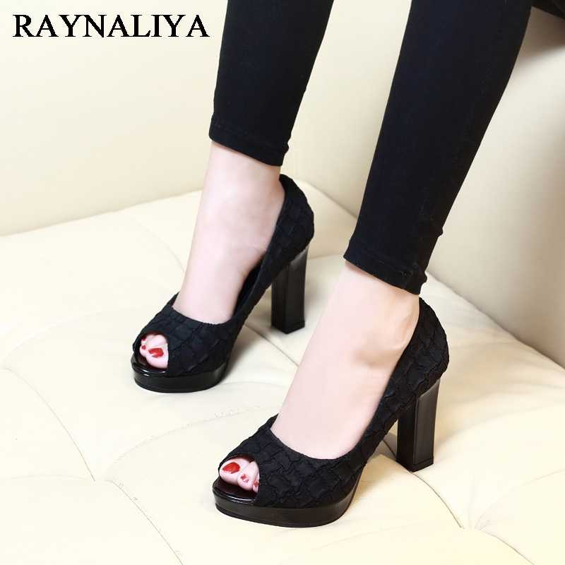 69d266f82f4 New Sexy Peep Toe Square Heels Women Pumps Pu Leather Platform Pumps Casual Party  Dress Shoes