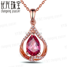 1.01ct Pink Pear Cut Tourmaline & Diamond Real 14k Gold Beautiful Engagement Pendant