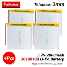6000mah 3.7v 30100100 polymer lithium ion battery backup power for tablet rechargeable LIPO