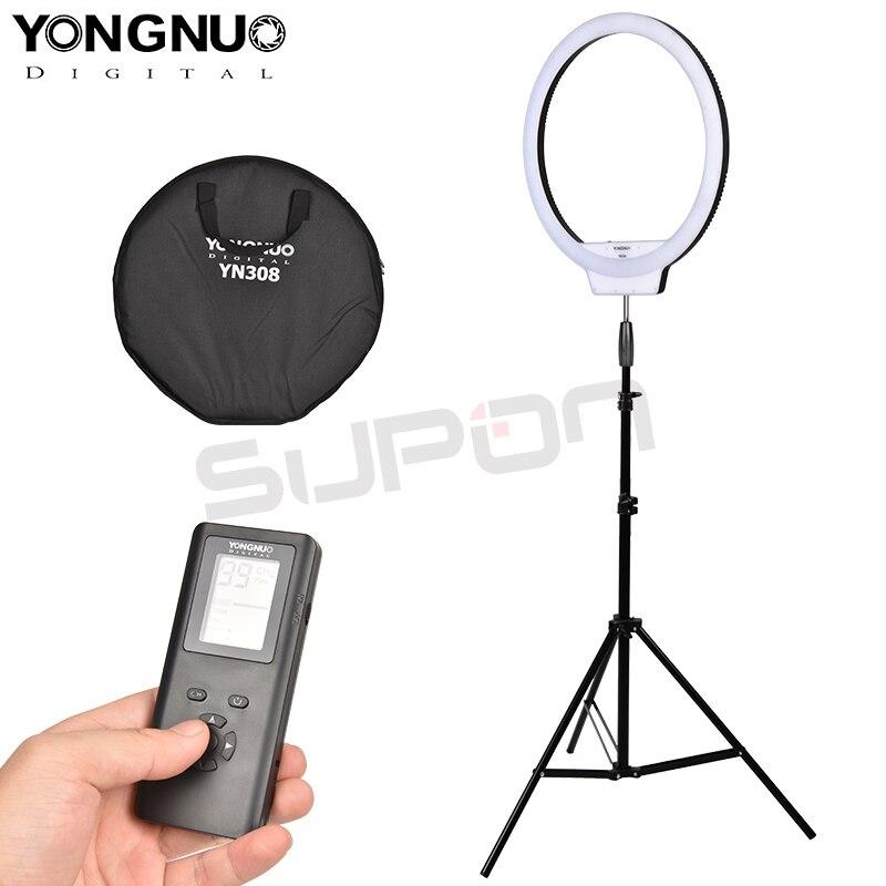 YongNuo YN308 Ring LED Flash Light 3200K-5500K Bi-Color Temperature Remote Wireless LED Video Selfie Light led lamp+ light stand кольцо для селфи selfie ring light на батарейке белое