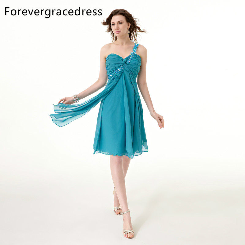 Forevergracedress 2018 Short Turquoise   Cocktail     Dress   Sexy One Shoulder Sleeveless Beaded Chiffon Party Gown Plus Size