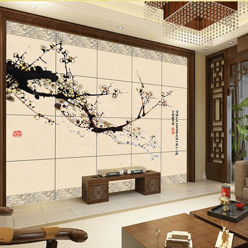 Sela Wei Large Art Deco Living Room TV Background Wall
